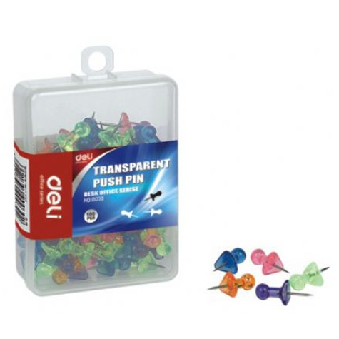 Deli Push Pins 0030 Transparent  PACK 100