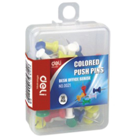 Deli Push Pins 0031 Coloured  Pack 100