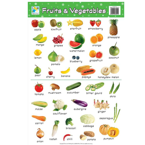 Kids Wall Chart Fruits and Vegetables SPECIAL 30% Off - only 1 available at this price