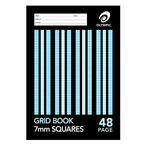 Olympic Grid Book 225 x 175mm 7mm Squares (rulings to edge) 48 Page SPECIAL 30% Off - only 143 available at this price