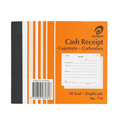 Olympic 714 Cash Receipt Book Duplicate Carbonless 50 Leaf SPECIAL 30% Off - only 4 available at this price