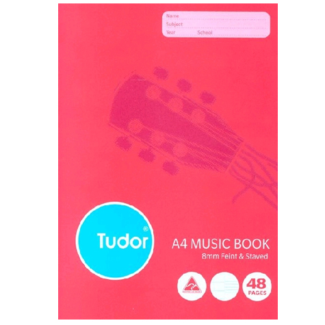 Tudor Music Book A4 Feint Staved 48 Page SPECIAL 30% Off - only 33 available at this price