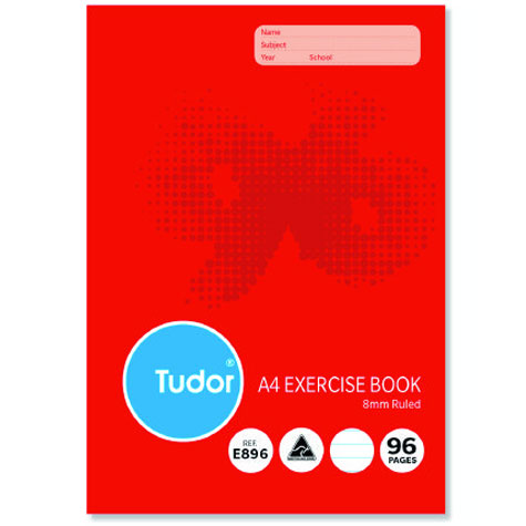 Tudor Exercise Book Stapled A4 8mm ruled 96 Page E896 SPECIAL 30% Off - only 4.5 available at this price