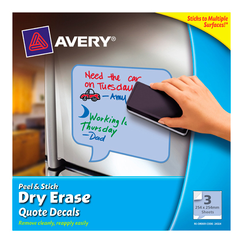 Avey Peel &  Dry Erase Decals Quotes 254 x 254mm Blue PACK 3 SPECIAL 30% Off - only 14 available at this price