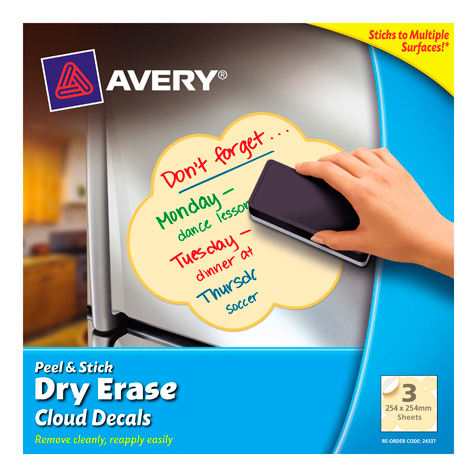 Avery Peel &  Dry Erase Decals Cloud 254 x 254 mm Yellow PACK 3 SPECIAL 30% Off - only 8 available at this price