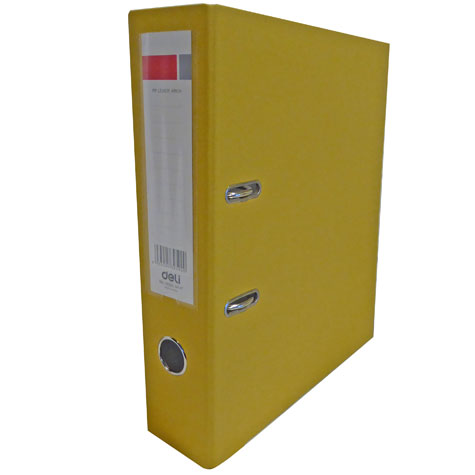 Deli Lever Arch File Binder A4 PVC 2 Ring 75mm Yellow