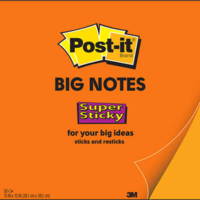 POST-IT BN15 SUPER STICKY BIG NOTE 381 X 381MM ORANGE 30 SHEETS