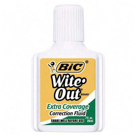 Bic Wite Out Extra Cover Correction Fluid 20ml