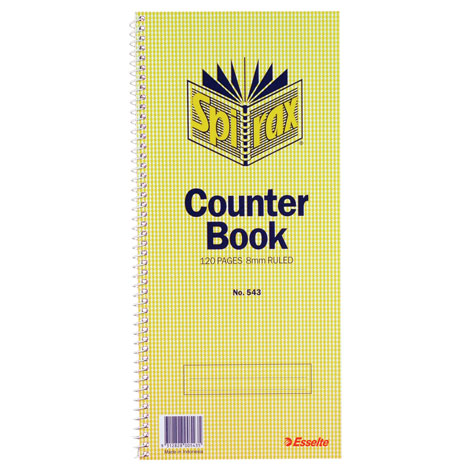 Spirax 543 Counter Book Feint Ruled 297 x 135mm 12 Page