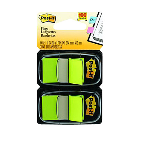 3M Post It Flags Cabinet Pack 680BG2 25 x 43mm Bright Green TWIN PACK 100
