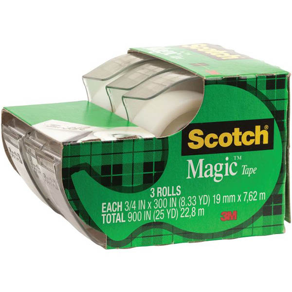 Scotch Magic Tape 810 Tape & Dispenser 19mm x 7.6m PACK 3 SPECIAL 30% Off - only 2 available at this price