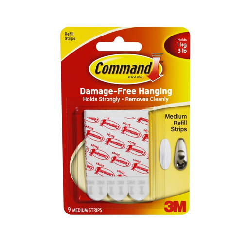 3M 17021P Command Mounting Strips Refill Medium PACK 9