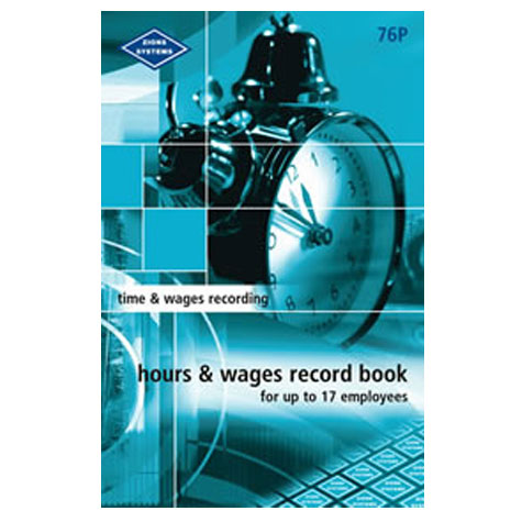 Zions 76P Hours and Wages Record Book Small SPECIAL 30% Off - only 1 available at this price