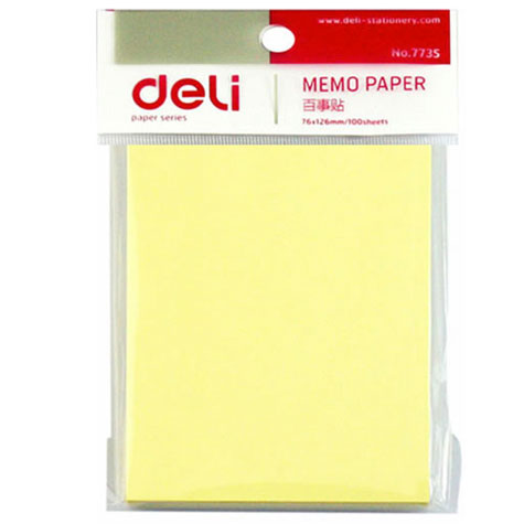 Deli y Notes 7735 Yellow 76 x 126mm 100 Sheets