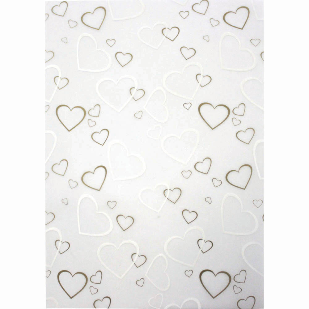 CUMBERLAND PRINTED PAPER TIFFANY HEARTS DESIGN A4 GOLD/WHITE PACK 10