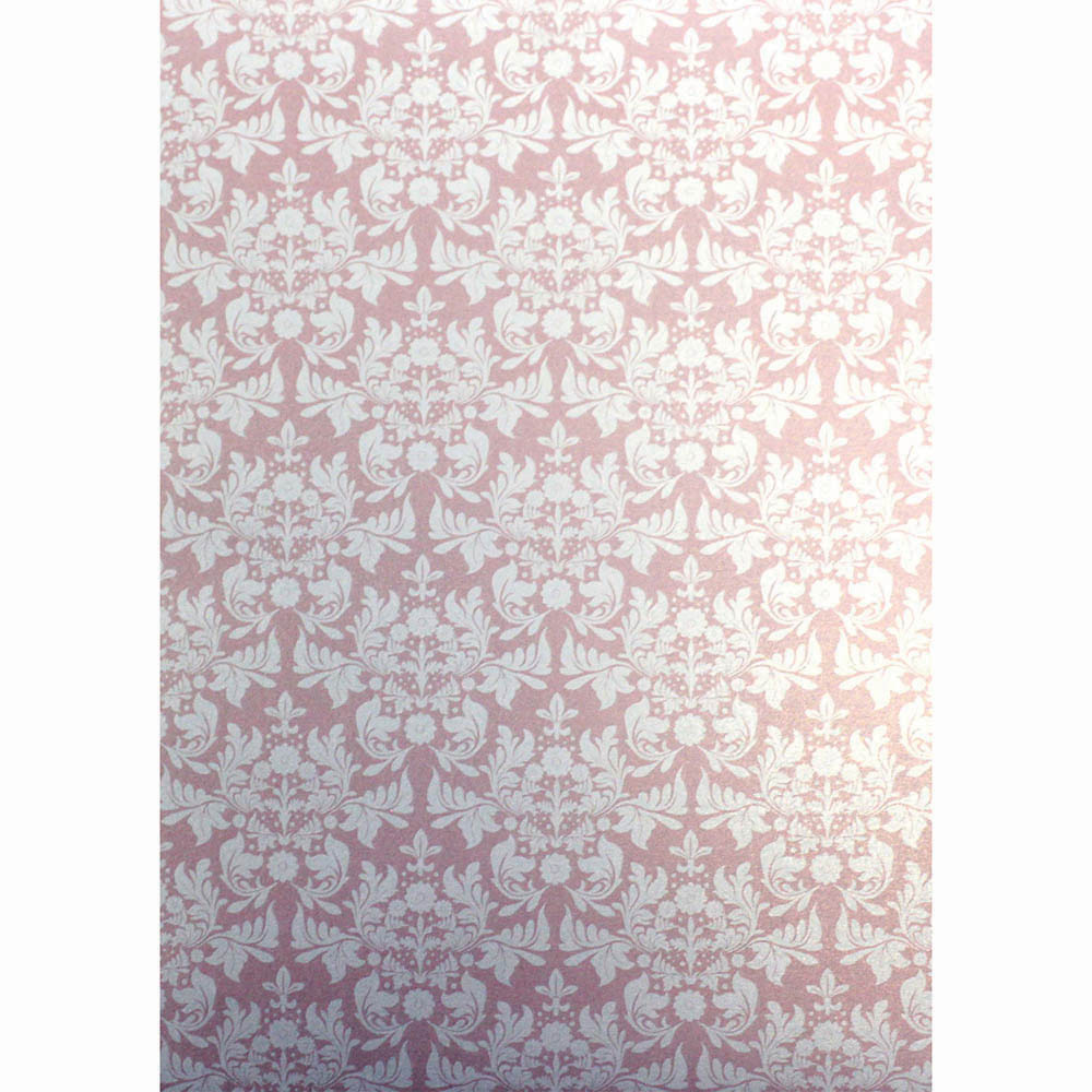 CUMBERLAND PRINTED PAPER DAMASK DESIGN A4 PINK PACK 10