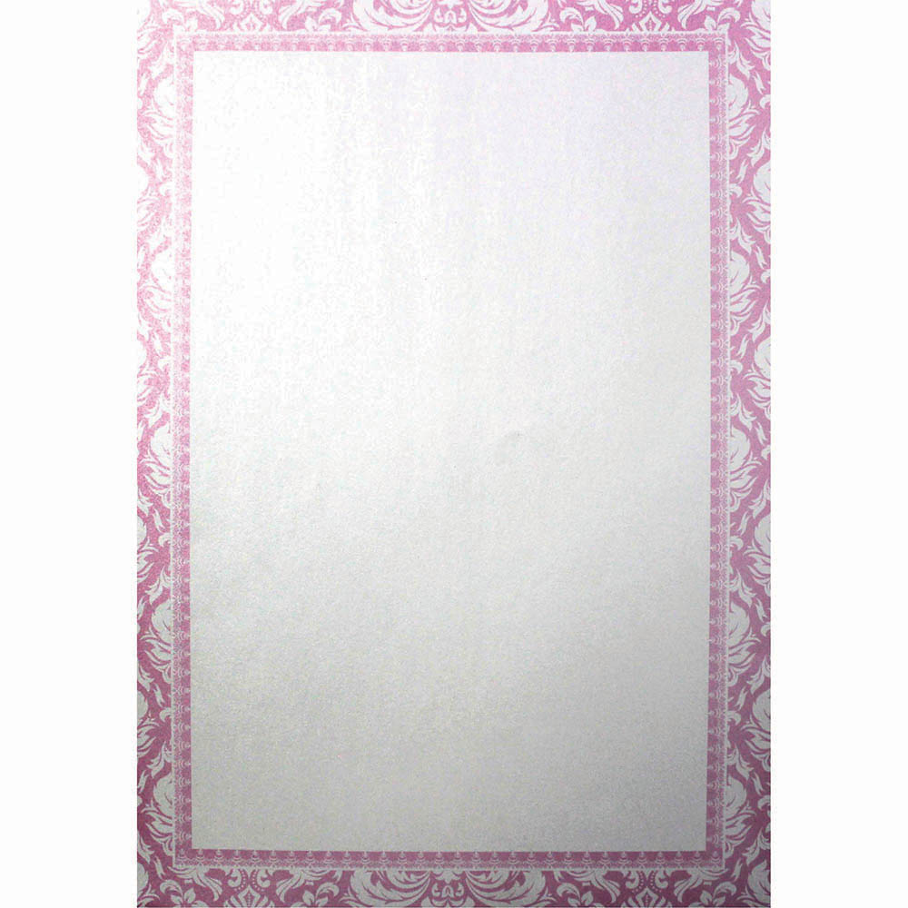 CUMBERLAND PRINTED PAPER DAMASK DESIGN WITH BORDER A4 PINK PACK 10