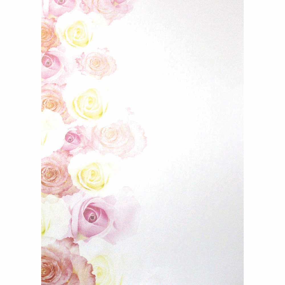 CUMBERLAND PRINTED PAPER FADING ROSE DESIGN A4 PINK/WHITE PACK 10