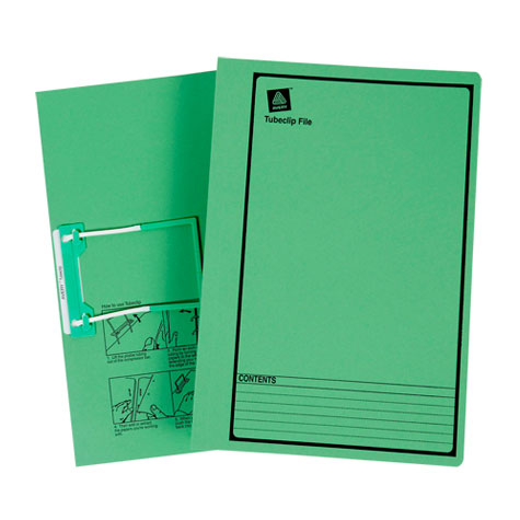Avery Tubeclip File Foolscap Green Printed Black PACK 20 SPECIAL 30% Off - only 4 available at this price