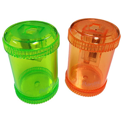 BANTEX CANISTER PENCIL SHARPENER 1 HOLE GREEN/ORANGE
