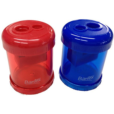 BANTEX CANISTER PENCIL SHARPENER 2 HOLE BLUE/RED