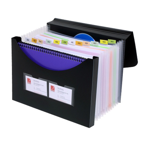 Marbig Expanding File With Storage Box Black SPECIAL 30% Off - only 4 available at this price