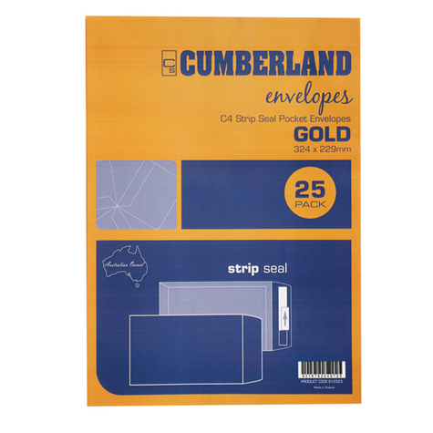 Cumberland C4 Envelopes 324 x 229mm Gold Pocket Strip Seal PACK 25 SPECIAL 30% Off - only 10 available at this price