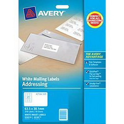 Avery White Address Labels (J8160) 63.5 x 38.1mm PACK 10 SPECIAL 30% Off - only 1 available at this price