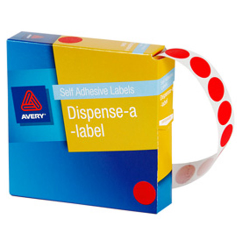 Avery Red Circle Dispenser Labels 14mm PACK 1050 SPECIAL 30% Off - only 14 available at this price