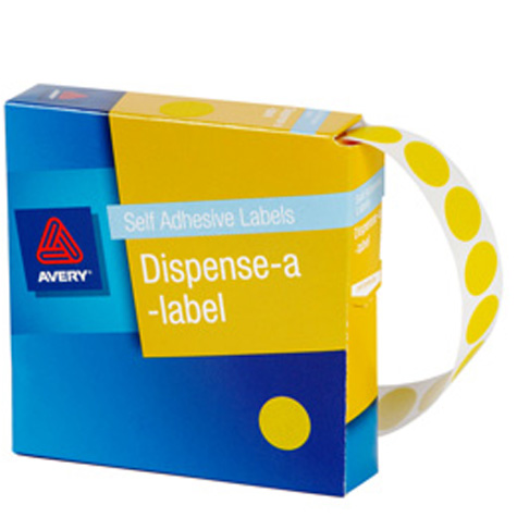Avery Yellow Circle Dispenser Labels 14mm PACK 1050 SPECIAL 30% Off - only 2 available at this price