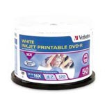 DVD-R Verbatim 4.7GB White Inkjet Printable 16 x SPINDLE 50 SPECIAL 30% Off - only 1 available at this price