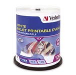 DVDR Verbatim 4.7GB White Inkjet Printable 16 x SPINDLE 100 SPECIAL 30% Off - only 3 available at this price
