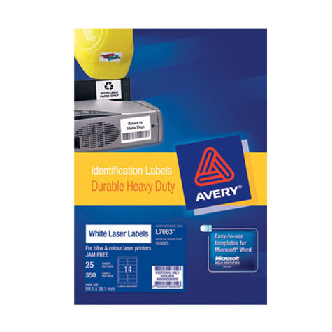 Avery (L7063) Heavy Duty Laser Labels 14UP 99.1 x 38.1 mm PACK 25 SPECIAL 30% Off - only 1 available at this price