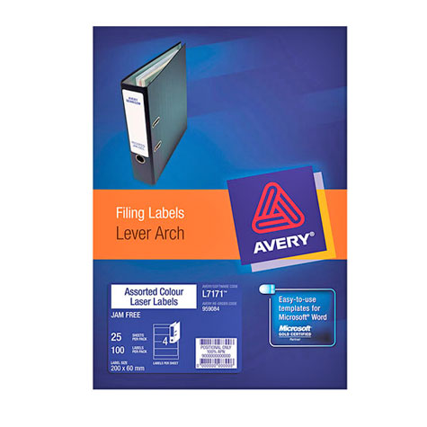 Avery Colour Lever Arch File Laser Labels (L7171) 200 x 60mm PACK 100 SPECIAL 30% Off - only 14 available at this price