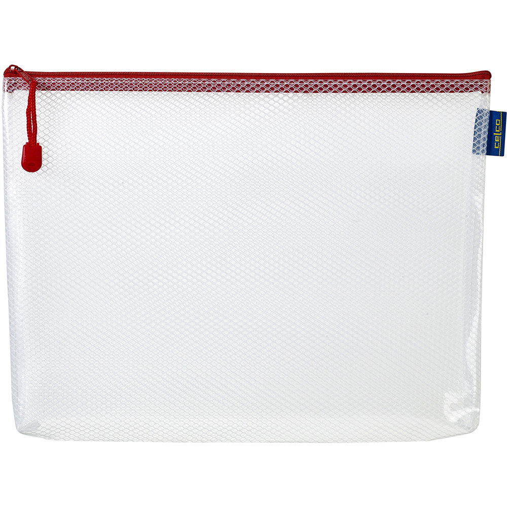 CELCO EXPANDABLE MESH POUCH CLEAR A4 ASSORTED