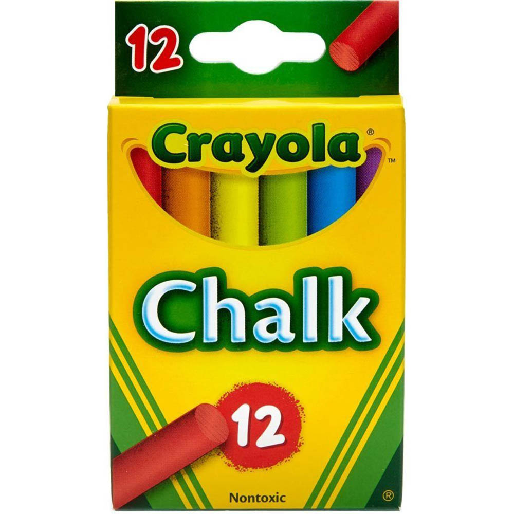 CRAYOLA MULTI-COLOURED CHILDRENS CHALK ASSORTED PACK 12