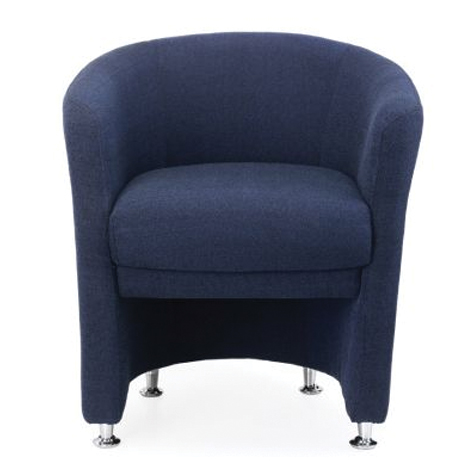 Basix Tub Chair Fully Upholstered Fabric Navy