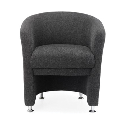 Basix Tub Chair Fully Upholstered Fabric Grey