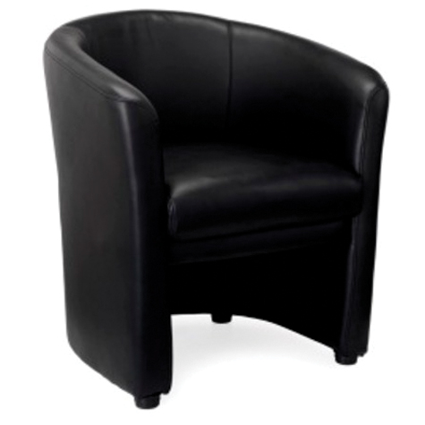 Basix Tub Chair Fully Upholstered Synthetic Leather Black