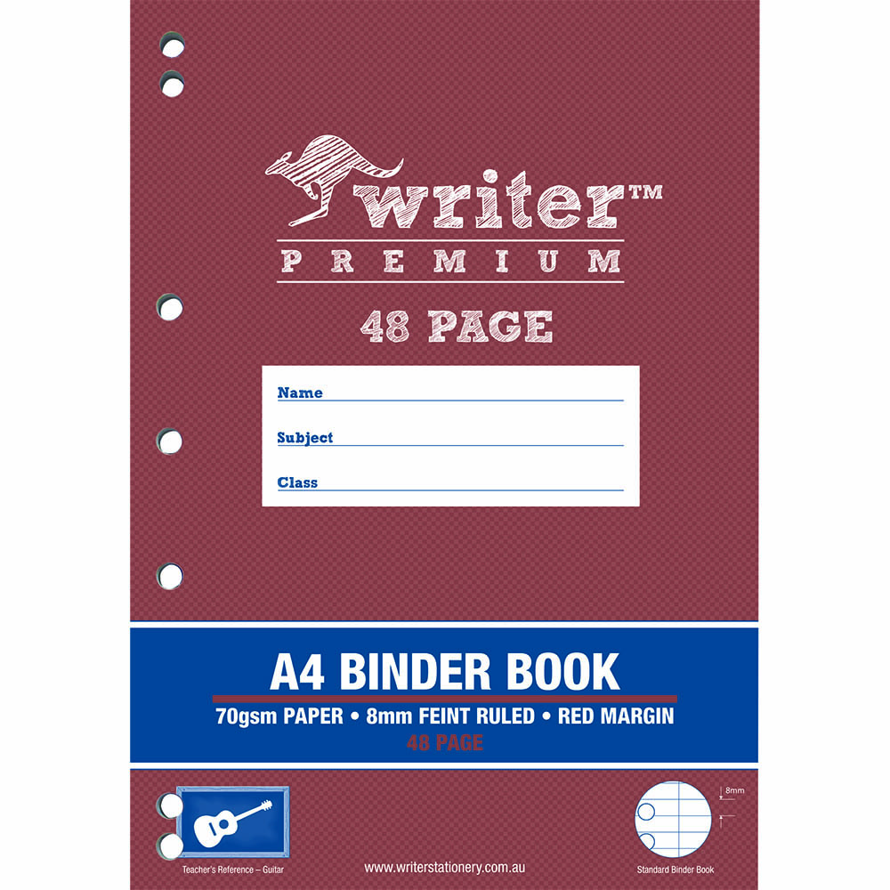 WRITER PREMIUM BINDER BOOK 8MM FEINT RULED 48 PAGE A4