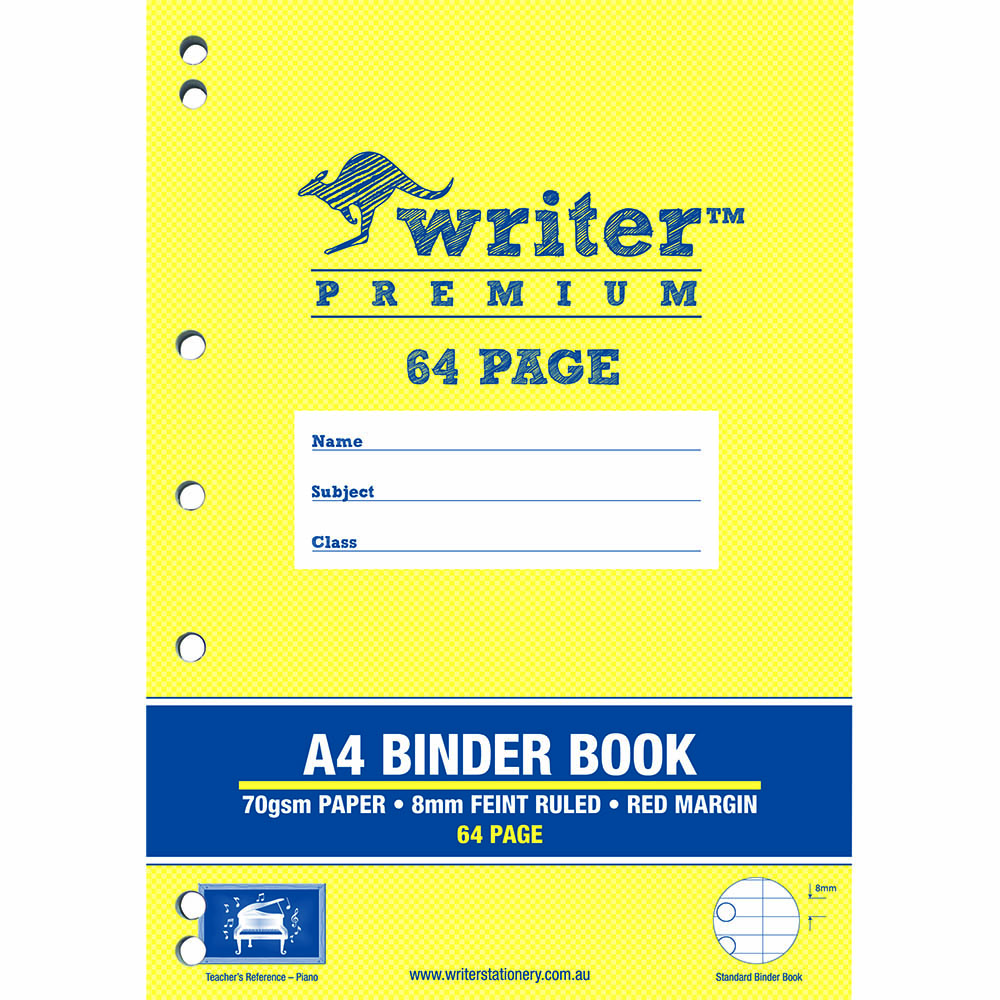 WRITER PREMIUM BINDER BOOK 8MM RULED 8MM FEINT RULED 64 PAGE A4