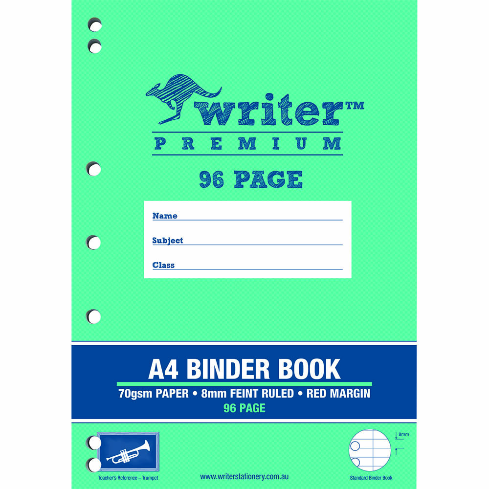 WRITER PREMIUM BINDER BOOK 8MM FEINT RULED 96 PAGE A4