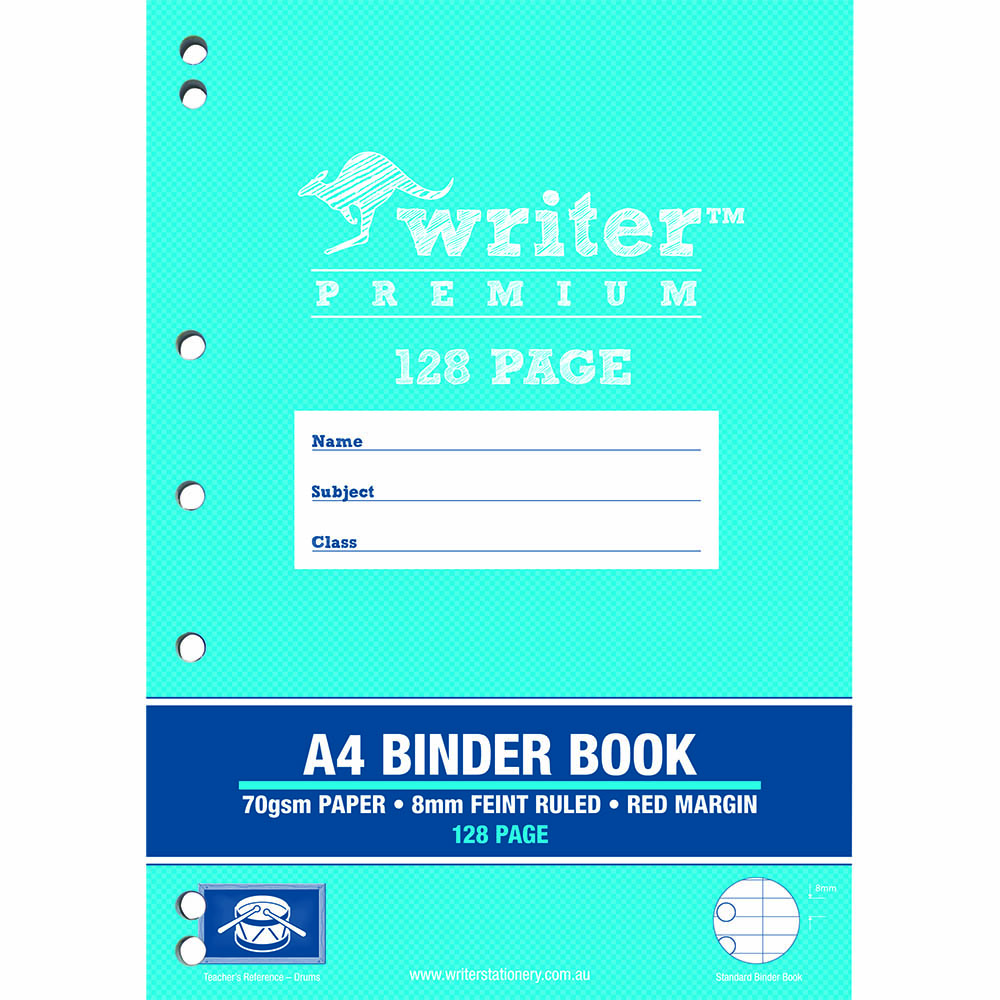 WRITER PREMIUM BINDER BOOK 8MM FEINT RULED 128 PAGE A4