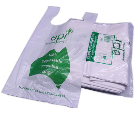 EPI Plastic HDPE Degradable Singlet Bags Large White/Green PACK 250 SPECIAL 30% Off - only 4 available at this price