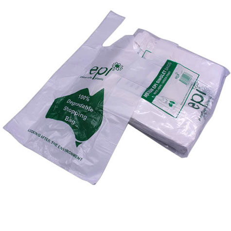 EPI Plastic HDPE Degradable Singlet Bags Medium White/Green PACK 250