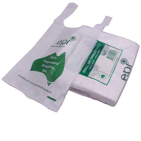 EPI Plastic HDPE Degradable Singlet Bags Small White/Green PACK 250