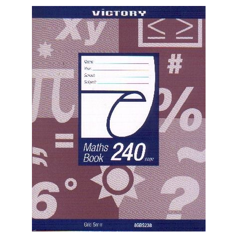 Victory Maths Book 5mm Grid Book Stapled 225 x 175mm 240 Page EACH SPECIAL 30% Off - only 4 available at this price