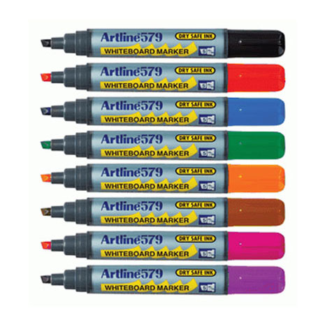 Artline 579 Drysafe Whiteboard Marker Chisel 6PK Asst Colours SPECIAL 30% Off - only 5 available at this price