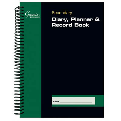 Genesis Secondary Day to Page Spiral Bound Diary Black/Green