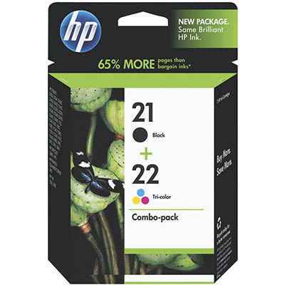 HP CC630AA NO 21 BLACK AND NO 22 TRI COLOUR INK CARTRIDGE COMBO PACK